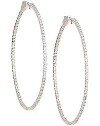 Neiman Marcus - 14k White Gold Diamond Hoop Earrings - Lyst