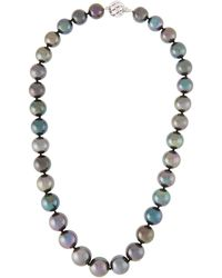 Belpearl - 14k White Gold Tahitian Pearl Necklace - Lyst