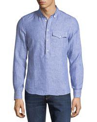 Brunello Cucinelli - Leisure-fit Pinstriped Linen 1/2-button Shirt - Lyst