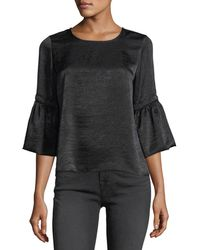 Waverly Grey - Satin 3/4-bell-sleeve Top - Lyst