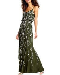 Adrianna Papell - Floral Beaded Blouson A-line Evening Gown - Lyst
