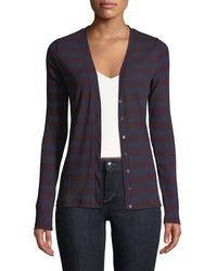 Three Dots - Striped V-neck Fitted Cardigan - Lyst