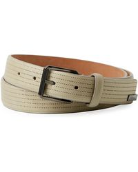 Armani - Men's Perforated Leather Belt Gray - Lyst