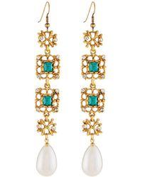 Kenneth Jay Lane - Emerald Crystal & Pearly Drop Earrings - Lyst