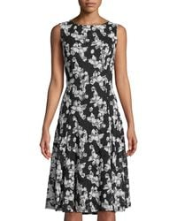Neiman Marcus - Butterfly-lace Sleeveless Dress - Lyst