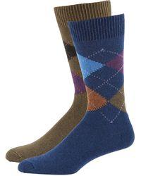 Punto - Men's Argyle Knit Socks Two-pack Blue/green - Lyst