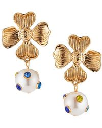 Lydell NYC - Flower Drop Earrings W/ Crystals - Lyst