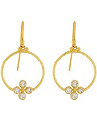 Gurhan - Clover 24k Circular Diamond Drop Earrings - Lyst