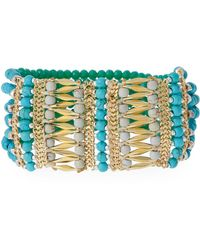 Nakamol - Beaded Stretch Bracelet Turquoise/gold - Lyst