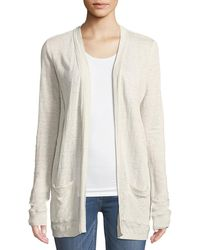 Three Dots - Ruched-back Linen Cardigan - Lyst