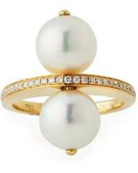 Belpearl - 18k Double Pearl Ring W/ Diamond Band - Lyst