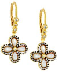 Freida Rothman - Pave Clover Drop Earrings - Lyst