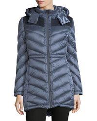 Belle By Badgley Mischka - Melrose Velvet-trim Packable Down Coat - Lyst