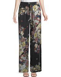Philosophy - Floral-crepe Wide-leg Pants - Lyst