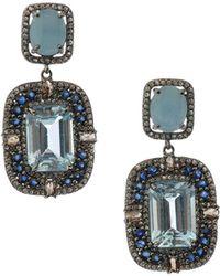 Bavna - Silver Drop Earrings With Champagne Diamonds & Blue Stones - Lyst