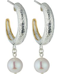 Gurhan - Spell Small Tapered Hoops W/ Freshwater Pearl Drops - Lyst