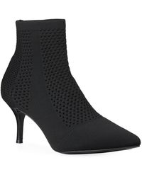 Charles David Alter Stretch Knit Perforated Ankle Booties - Black