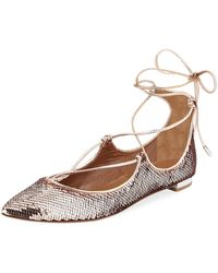 Aquazzura - Christy Sequin Ballet Flats - Lyst