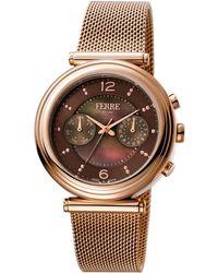 Ferrè Milano - Women's 36mm Stainless Steel Day/date Watch With Bracelet - Lyst