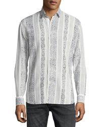 Saint Laurent - Collection Yves Graphic-stripe Sport Shirt - Lyst