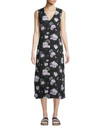 Equipment - Connery Floral V-neck Midi Dress - Lyst
