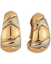 BVLGARI - Estate 18k Two-tone Half Hoop Earrings - Lyst