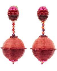 Oscar de la Renta | Beaded Drop Clip-on Earrings | Lyst