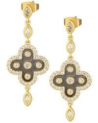 Freida Rothman - !4k Gold-plated Clover Drop Earrings W/ Cz - Lyst