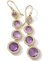 Ippolita - 18k Gold Lollipop 4-stone Drop Earrings In Amethyst With Diamonds - Lyst