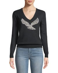 Haute Rogue - Tally Eagle-embellished V-neck Pullover Sweater - Lyst