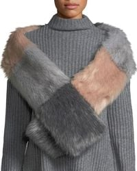 Love Token - Colorblocked Faux-fur Scarf - Lyst