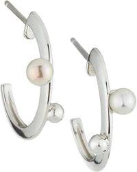Majorica - Multi-pearl Plume Hoop Earrings - Lyst