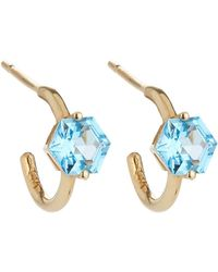 KALAN by Suzanne Kalan - 14k Hexagonal Swiss Blue Topaz 12mm Hoop Earrings - Lyst