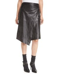 Brunello Cucinelli - Leather Faux-wrap Midi Skirt - Lyst