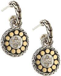 John Hardy - Sterling Silver & 18k Gold Dot Drop Earrings W/ Diamonds - Lyst