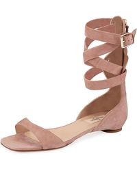 Valentino - Suede Caged-ankle Flat Sandals - Lyst