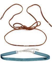 Chan Luu - Two-piece Leather & Velvet Choker Necklace Set - Lyst