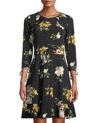 Dex - Floral-print Shoulder Ruffle A-line Dress - Lyst