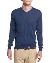 Peter Millar - Silk-blend V-neck Pullover Sweater - Lyst