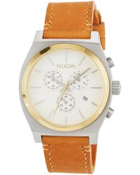 Nixon - 39mm Time Teller Chrono Leather Watch Tan - Lyst
