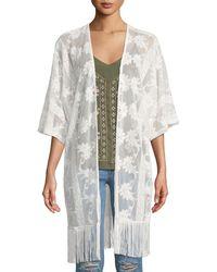 Dex - Embroidered Mesh Kimono W/ Fringe Trim - Lyst