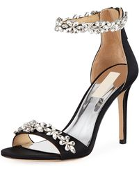 Badgley Mischka - Valentine Embellished Satin Sandals - Lyst