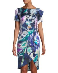 7d5f208b04b1f Lyst - St. John Floral Print Stretch Silk Dress in Purple