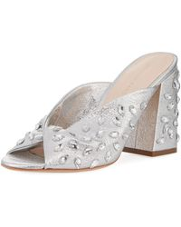 Loeffler Randall - Laurel Crinkle Metallic Mule Sandal With Jewels - Lyst
