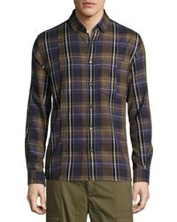 Public School - Retro Plaid Cotton Exposed-seam Shirt - Lyst