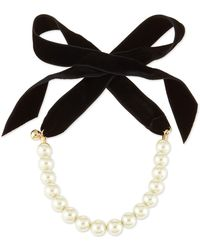 Lulu Frost - Pearly Choker Necklace With Velvet Bow - Lyst
