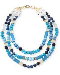 Akola - Triple-strand Blue Beaded Necklace - Lyst