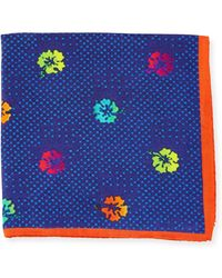 Bugatchi - Dotted Floral-print Silk Pocket Square - Lyst