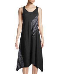 Neiman Marcus - Scribble-embroidered Linen Handkerchief Dress - Lyst