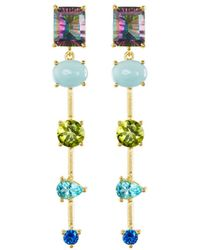 Indulgems | Mixed-stone Linear Dangle Earrings W/ Mystic Quartz | Lyst